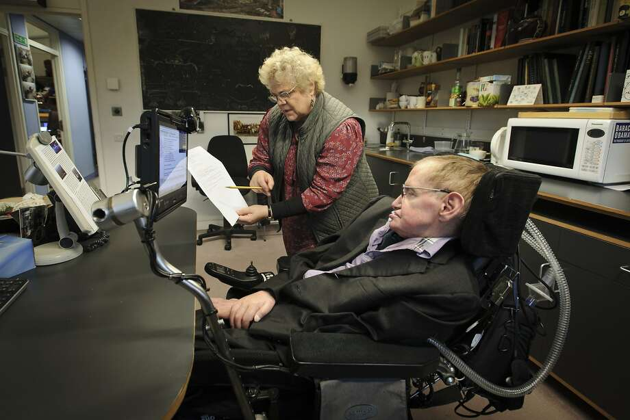 Professor Stephen William Hawking, CH, CBE, FRS, FRSA, at the Department of Applied Mathematics and Theoretical Physics, University of Cambridge. Photographed with his personal assistant, Judith Croasdell. Photo: Jason Bye, PBS