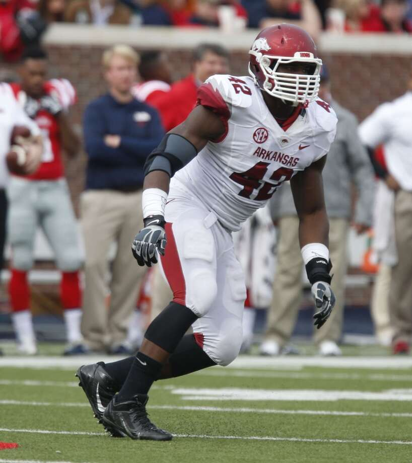 "South team Chris Smith, DE, Arkansas 6'3"" 268 pounds 21 years old Smith started the final 24 games of his career - finishing with 21.5 sacks (4th most in school history) and was was elected a team captain in his final season. Photo: Rogelio V. Solis, Associated Press"