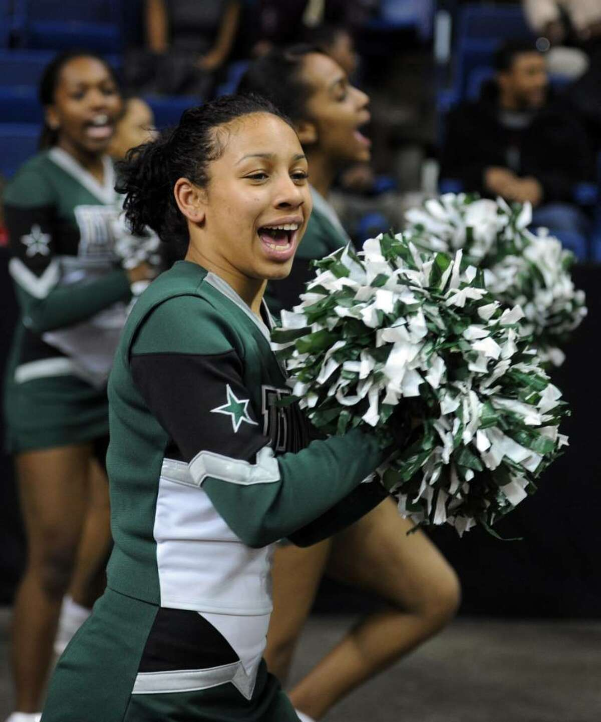 Bassick cheerleaders at Thursday night's Bridgeport Basketball Classic against Trumbull at the Arena at Harbor Yard.