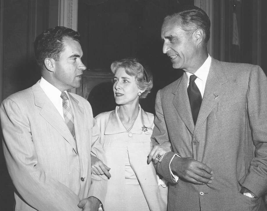 On Jan. 28, 1954, Sen. Prescott Bush (R.-Conn), of Greenwich, was appointed to a five-member subcommittee of the Senate Banking and Currency Committee to take part in an investigation of the sudden sharp increases in coffee prices. Here, Bush, right, is shown with Claire Booth Luce and vice president Richard Nixon  in Washington, D.C. Photo: Contributed Photo, ST / Greenwich Citizen