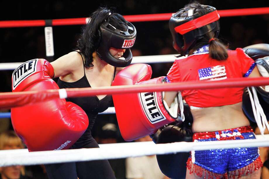 """5) CELEBRITY BOXING STAR: Suleman launched a short-lived boxing career in 2011, explaining she was stepping into the ring with a string of D-List celebrities because she was broke. Her opponents included """"Long Island Lolita"""" Amy Fisher, who became famous for shooting her much older lover's wife in the face in 1992. Suleman won decisions over Fisher and a Florida bartender, but took a pounding from Philadelphia radio personality Jen Posner, though the referee ruled the bout a draw.PHOTO:  Nadya """"Octomom"""" Suleman (left) fights Amy Fisher during """"Celebrity Fight Night"""" At The Avalon on Nov. 5, 2011, in Hollywood, Calif. Photo: Joe Kohen, Getty Images / 2011 Joe Kohen"""