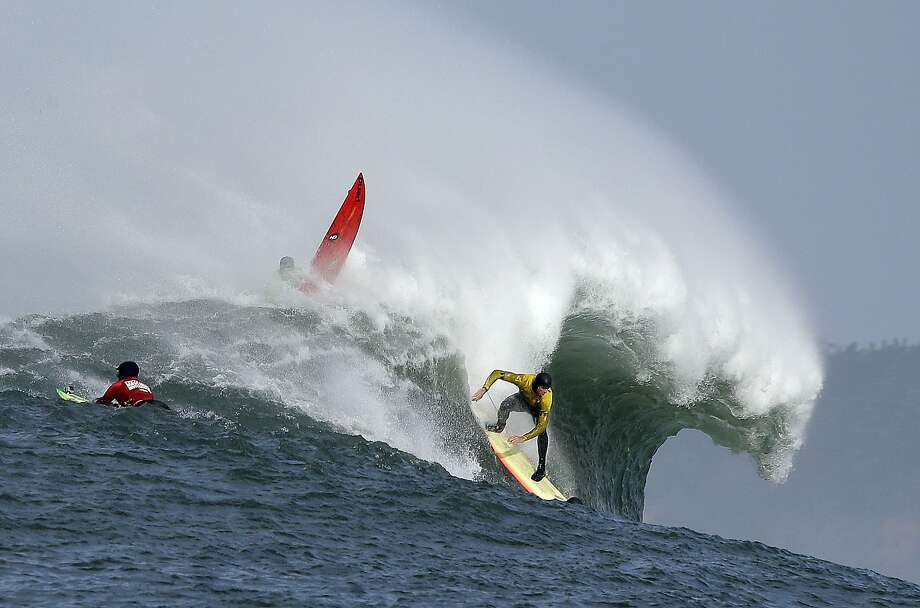 Ryan Seelbach rides a wave during the second heat of the first round of the Mavericks Invitational big wave surf contest Friday, Jan. 24, 2014, in Half Moon Bay, Calif. Photo: Eric Risberg, Associated Press