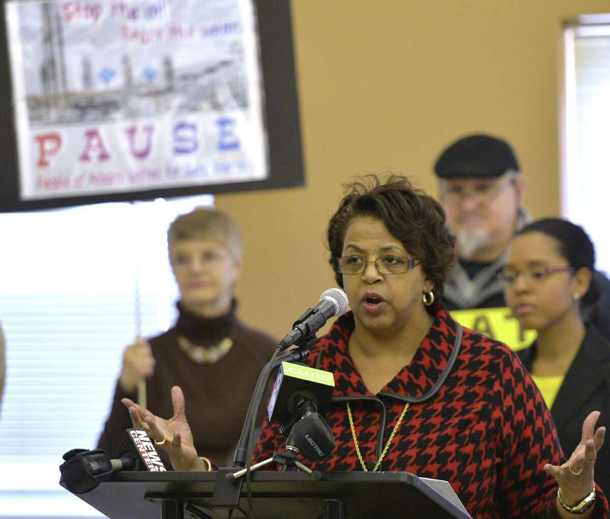 Albany Common Council President Carolyn McLaughlin voices her concern on the subject of oil tank railroad cars, and their proximity to local housing, coming in to the city during a demonstration held Jan. 24, 2014 in Albany, N.Y. (Skip Dickstein / Times Union)
