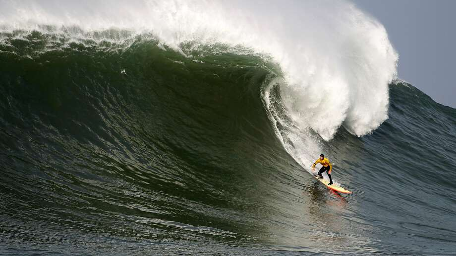 Ryan Seelbach looks up at the lip during the first round of the Maverick's Invitational surf contest in Half Moon Bay, Calif., on Friday, Jan. 24, 2014. Photo: Mathew Sumner, Special To The Chronicle