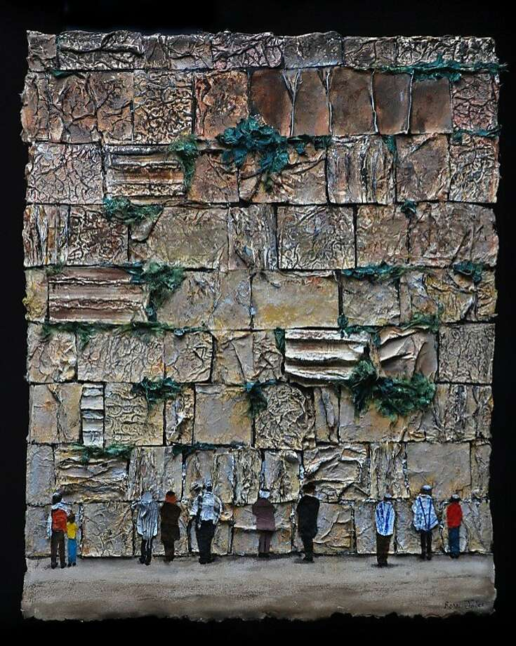 """My Judaism Unlocked,"" Ronnie Jolles' series of paintings with paper, is at the Peninsula Jewish Community Center in Foster City. Photo: Pjcc"