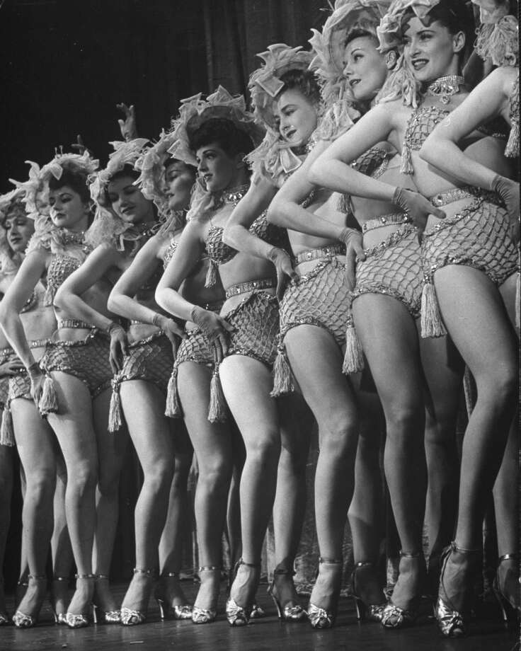 A line of fish-net clad girls dancing in the musical, Star and Garter. Photo: George Karger, Time & Life Pictures/Getty Image