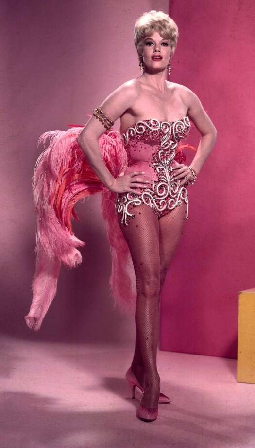 Circa 1950's, Miss Janis Paige, Warner Bros, film screen star, wearing a pink showgirl outfit Photo: Popperfoto, Popperfoto/Getty Images