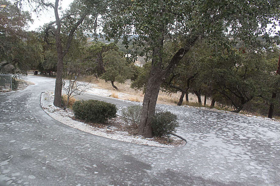 It was 25 this morning in Canyon Lake. Here's my icy driveway. Photo: Reader Photo/Bruno Torres