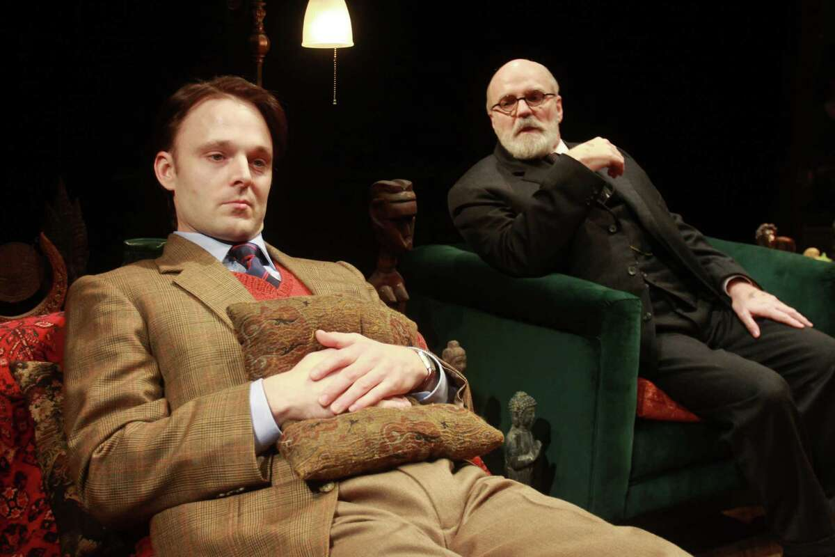 """C.S. Lewis (Jay Sullivan, left) and Sigmund Freud (James Black) find themselves locked in a discussion about religious faith in """"Freud's Last Session."""""""