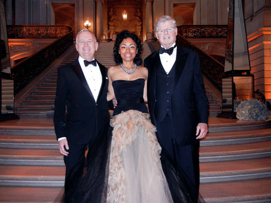 SF Ballet Executive Director Glenn McCoy (at left) with Gala Chairwoman Tanya Powell (in Vera Wang) and honorary chairman Richard Barker at the 81st opening-night gala dinner in City Hall. Photo: Catherine Bigelow