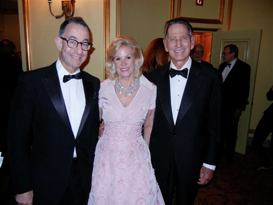 Fine Arts Museums Director Colin Bailey (at left) with FAM Board President and Ballet Trustee Dede Wilsey (in Oscar de la Renta) and Chal de Guigne in the Opera House Photo: Catherine Bigelow