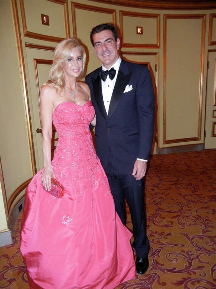 Paula Carano (in Oscar de la Renta) and her husband, Bandel Carano Photo: Catherine Bigelow