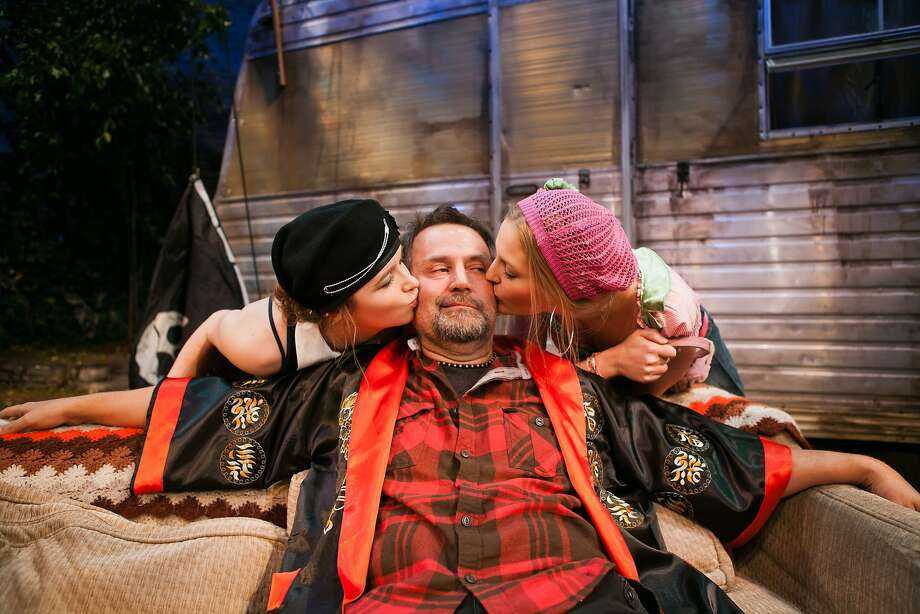 "Johnny ""Rooster"" Byron (Brian Dykstra) is bid goodbye by Pea (Devon Simpson, left) and Tanya (Riley Krull) in ""Jerusalem."" Photo: Jessica Palopoli"