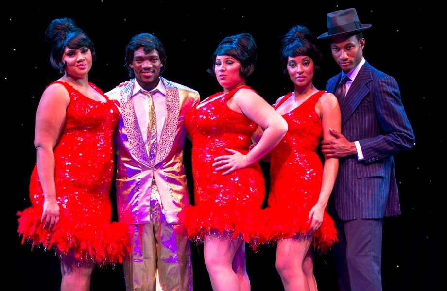 """Dreamgirls,"" presented at the Downtown Cabaret Theatre in Bridgeport, Conn., stars, from left, Alana Cauthen, Sean Davis, Jessica Braun, Danielle Summons and Khallid Graham. Photo: Contributed Photo"