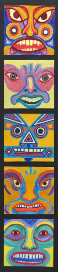This totem pole painting is among more than half a dozen new works by Ken Delmar on view in ìDelmar Is On A Roll,î an exhibit at Rockwell Art and Framing in Ridgefield, Conn.. All of the works in this show were painted on Bounty paper towels. Photo: Contributed Photo