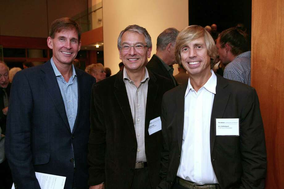 From left to right are, JK Brown, Richard Klein, curator at the Aldrich Contempory Art Museum in Ridgefield, Conn. and  Eric Diefenbach, chairman of the Aldrich Museum board of directors. Diefenbach has recently been identified as the art collector interested in buying 12 acres of land at the Schlumberger property in Ridgefield. Photo: Contributed Photo/ Courtesy Aldr, Contributed Photo / The News-Times Contributed
