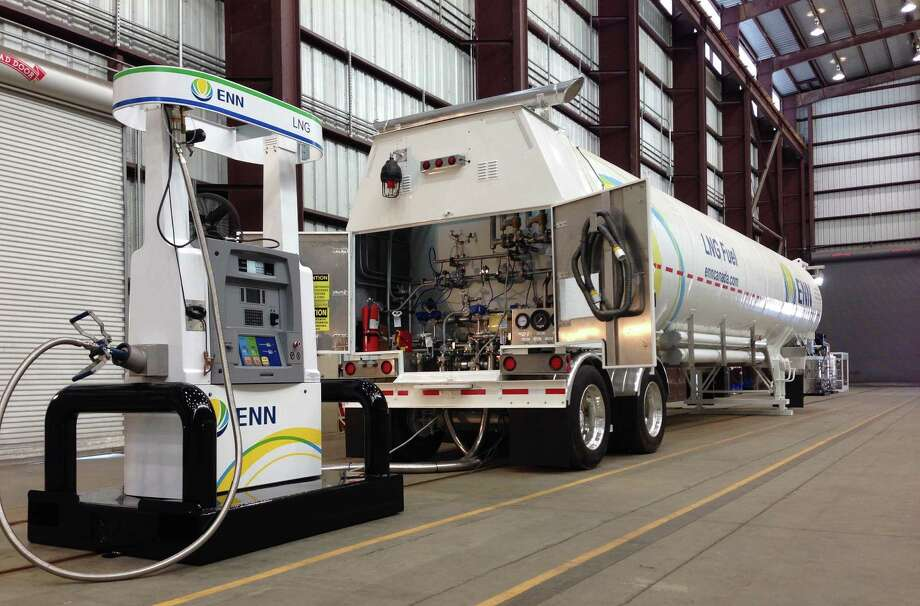 A mobile refueling system for trucks running on liquefied natural gas is displayed at INOXCVA's plant in Baytown. INOXCVA is testing modern-day tender cars for railways. Photo: Zain Shauk / Houston Chronicle
