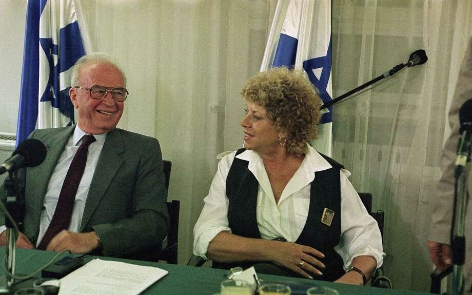 Shown in a 1993 photo with then-Israeli Prime Minister Yitzhak Rabin, Shulamit Aloni, an Israeli civil rights pioneer and longtime dovish politician, has died at the age of 85. Photo: Associated Press / AP