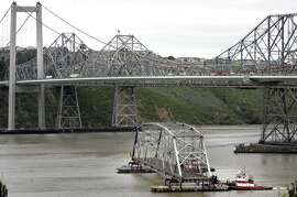 CARQUINEZ_0283 4/25/06  A portion of the old Carquinez Bridge as it's being taken down. . PHOTO: MARK COSTANTINI / SAN FRANCISCO CHRONICLE    Photo / Mark Costantini /San Francisco Chronicle