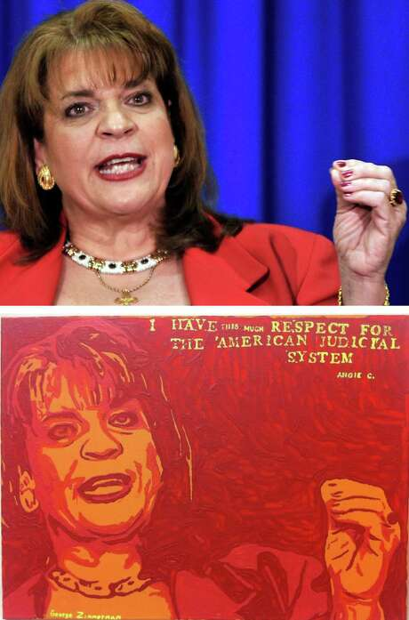 """The Associated Press claims George Zimmerman, in his painting titled """"Angie,"""" copied an AP photo of Florida State Attorney Angela Corey during her , April 2012 announcement of second- degree murder charges against Zimmerman in the shooting death of Trayvon Martin. Photo: Rick Wilson / Associated Press / FR170516 AP"""