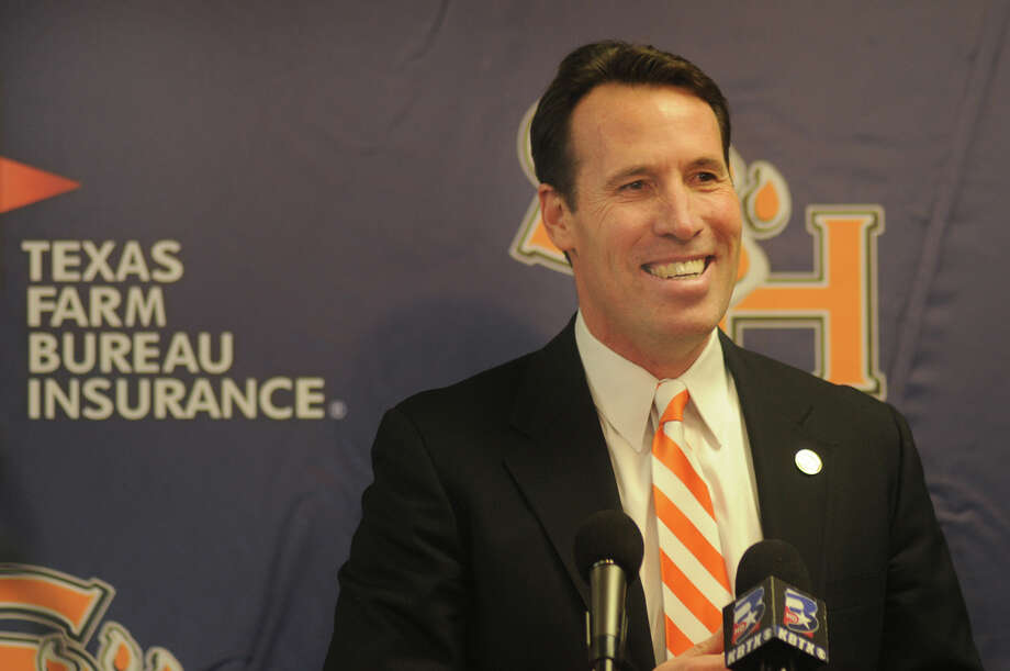 "New Sam Houston State coach K.C. Keeler said at Friday's news conference that he plans to be in Huntsville ""for the long haul"" and hopes to continue the winning tradition at the university. Photo: Jerry Baker, Freelance"