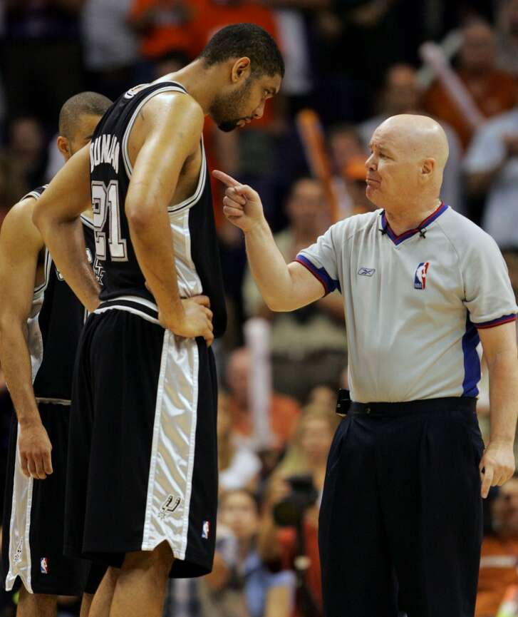 NBA ref  Joey Crawford , for that game in 2007 where he ejected Tim Duncan (from the bench!) for supposedly laughing at him. Crawford got suspended for the rest of the season.  PHOTO: Crawford talks with the Spurs' Duncan after a foul called against the Suns during third quarter action in Game 1 of the Western Conference Finals at the America West Center in Phoenix on May 22, 2005.