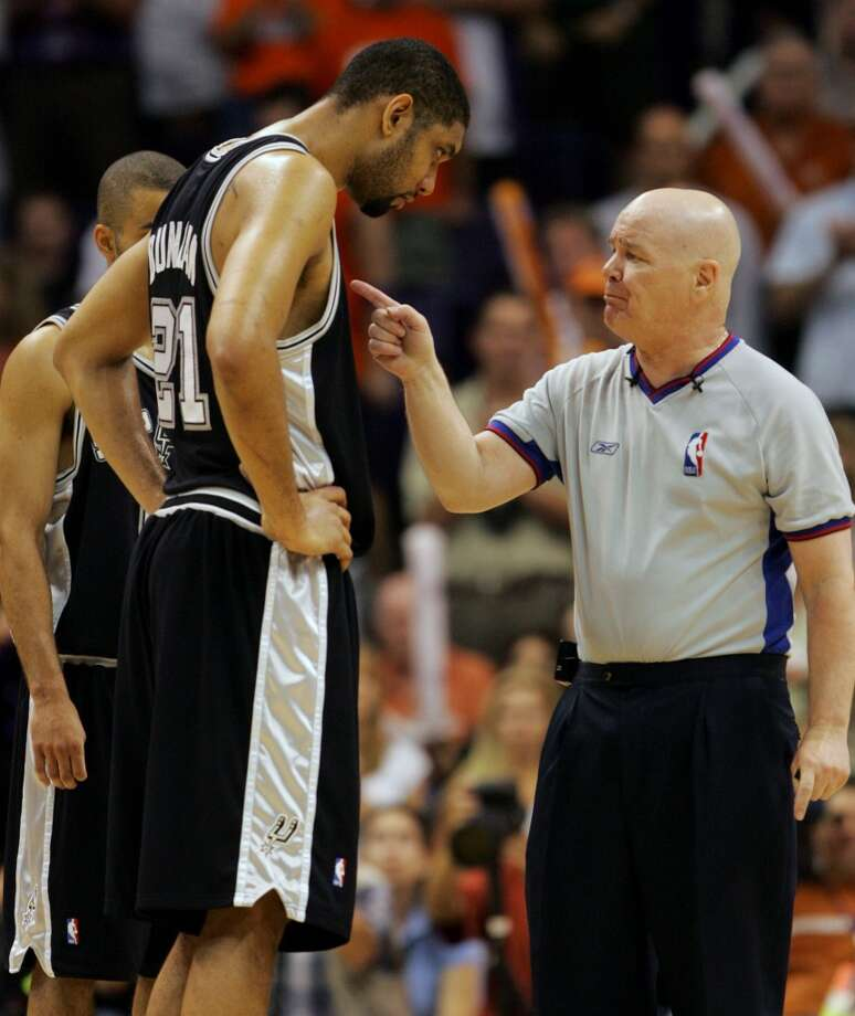 NBA ref Joey Crawford, for that game in 2007 where he ejected Tim Duncan (from the bench!) for supposedly laughing at him. Crawford got suspended for the rest of the season.PHOTO: Crawford talks with the Spurs' Duncan after a foul called against the Suns during third quarter action in Game 1 of the Western Conference Finals at the America West Center in Phoenix on May 22, 2005. Photo: William Luther, San Antonio Express-News