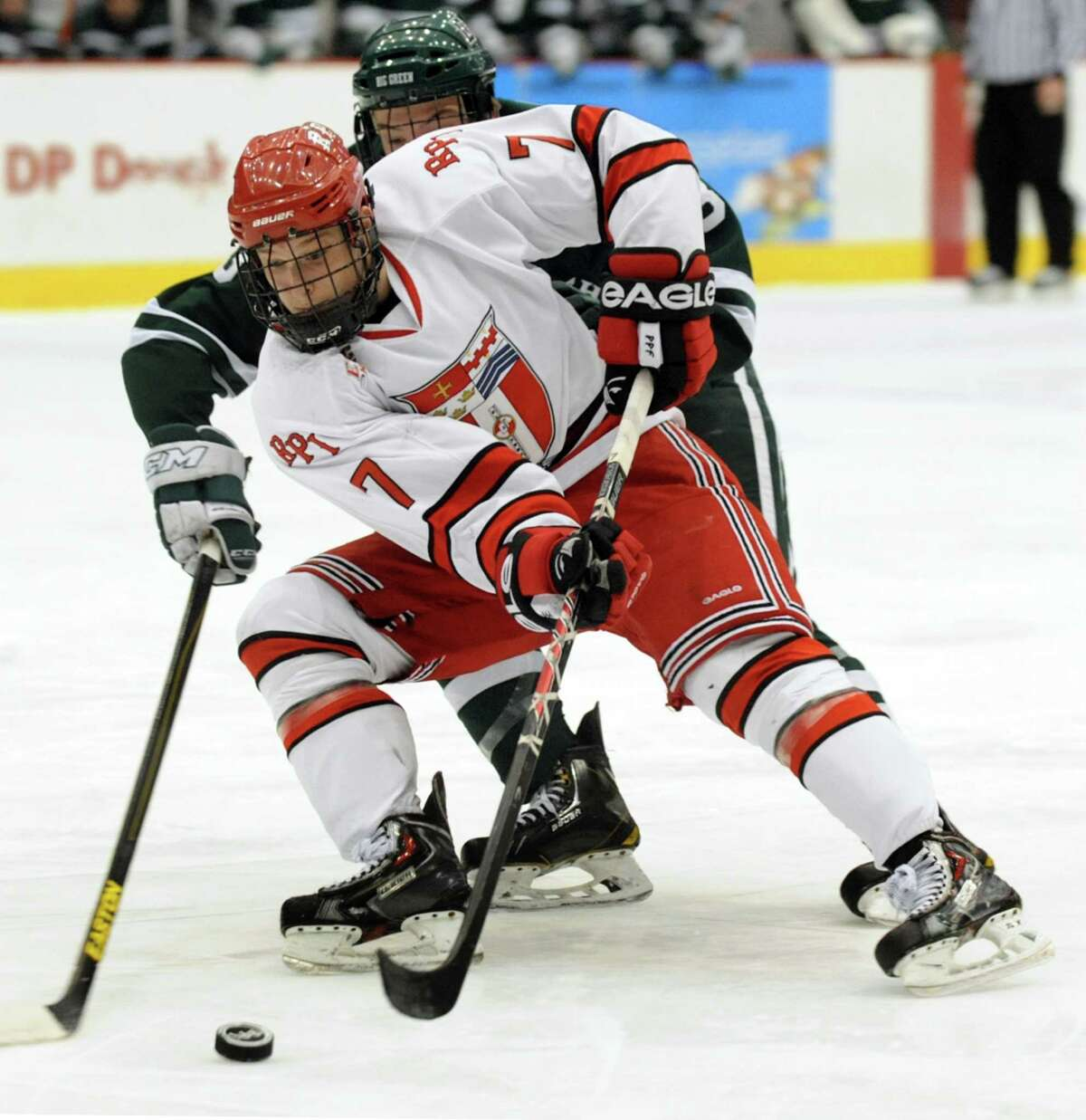 RPI's Zach Schroeder, left, maneuvers the puck as Dartmouth's Josh Hartley defends during their hockey game on Friday, Jan. 24, 2014, at Houston Field House in Troy, N.Y. (Cindy Schultz / Times Union)