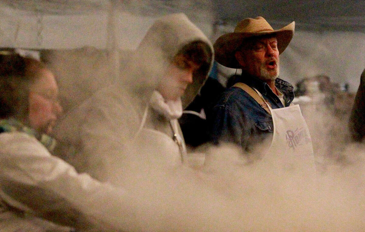 At 4:30 a.m., volunteers started serving up free tacos, biscuits, sausage and more at the annual Cowboy Breakfast.
