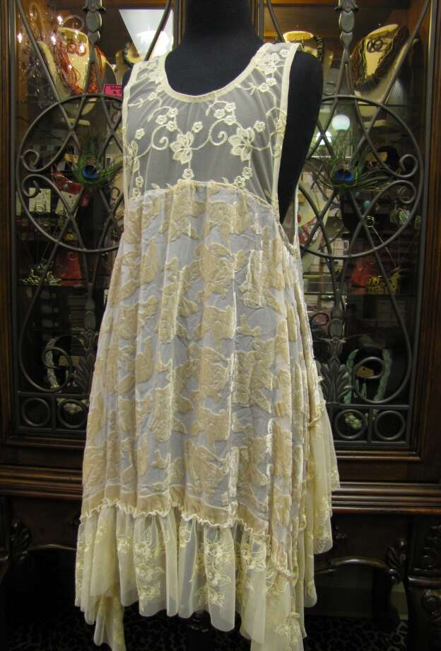 Velvet and lace overlay, $199, La-Tee-Da Boutique, Beaumont Photo: Cat5