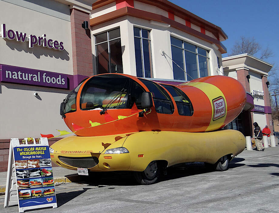 The 27-foot-long Oscar Mayer Wienermobile visited Super Stop & Shop on Villa Avenue Friday afternoon. Photo: Mike Lauterborn / Fairfield Citizen contributed