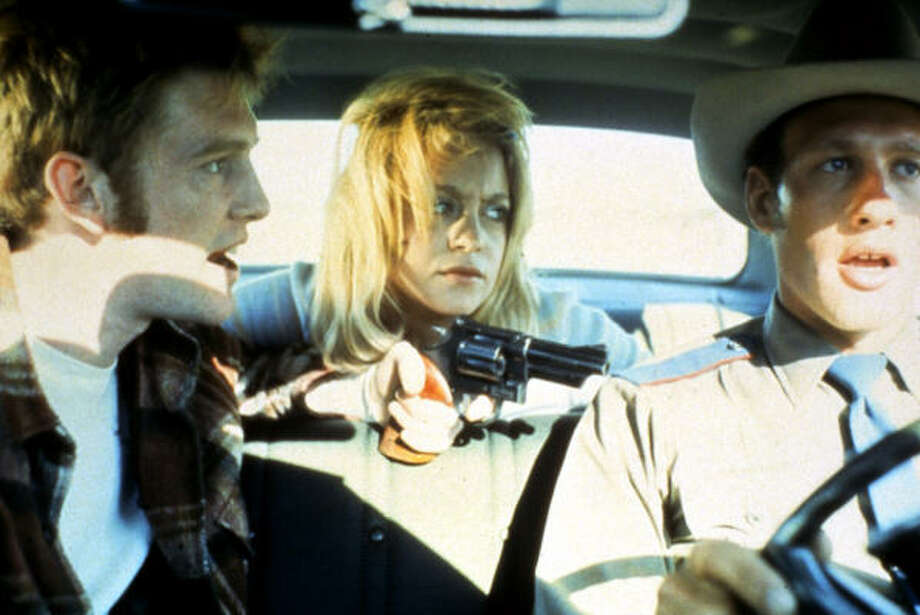 William Atherton, Goldie Hawn and Michael Sacks in 'The Sugarland Express.' In this film, a woman tries to reunite her family by helping her husband bust out of prison and by kidnapping their son. What could go wrong there?