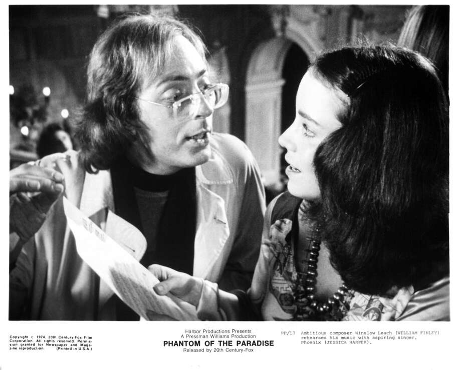 William Finley rehearses with Jessica Harper in a scene from the film  