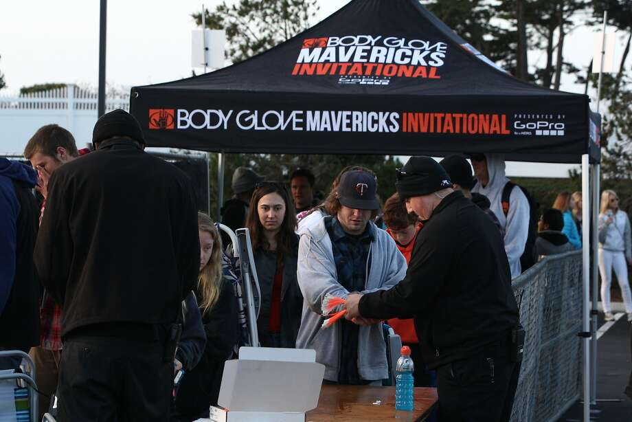 Spectators checking in and getting their wristbands at the Mavericks Invitational Big Wave Surfing Contest Festival in Half Moon Bay, Calif. on Friday, Jan 24, 2014. Photo: Andre Zandona, The Chronicle