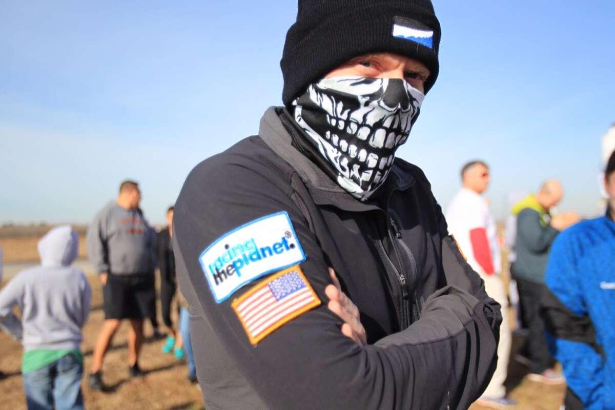 Chris Knodel arrives to The Great Bull Run at Baytown Race Track on Jan. 25, 2014. ( Mayra Beltran / Houston Chronicle )