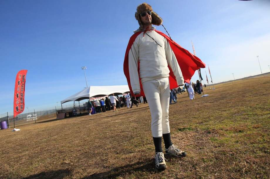 Benny Spies, of South Dakota,  arrives to The Great Bull Run at Baytown Race Track on Jan. 25, 2014. ( Mayra Beltran / Houston Chronicle )