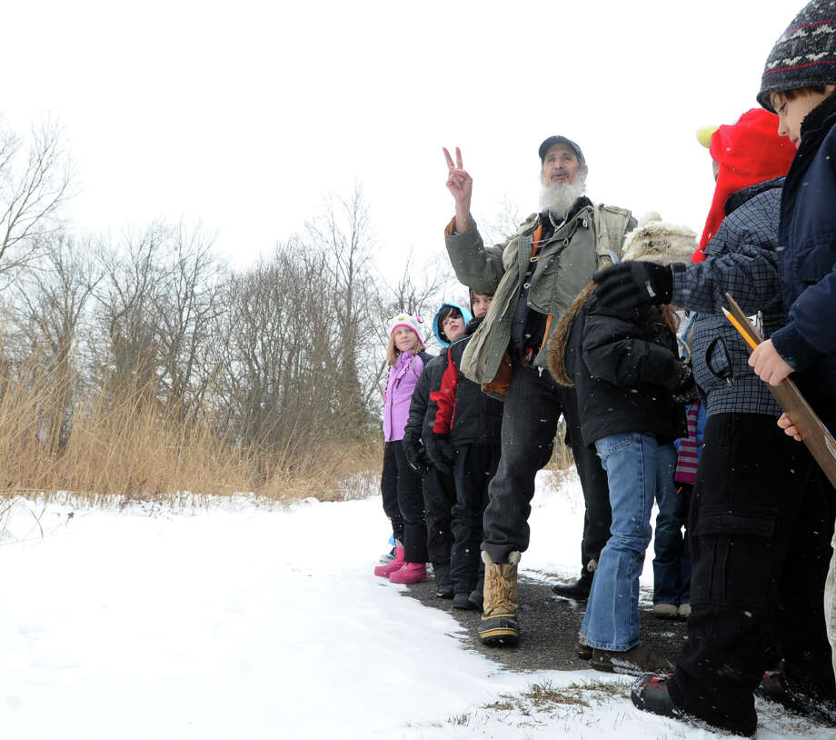 Audubon Greenwich Naturalist Ted Gilman teaches a Wildlife Tracking Class at Audubon Greenwich, Saturday afternoon, Jan. 25, 2014. Photo: Bob Luckey / Greenwich Time