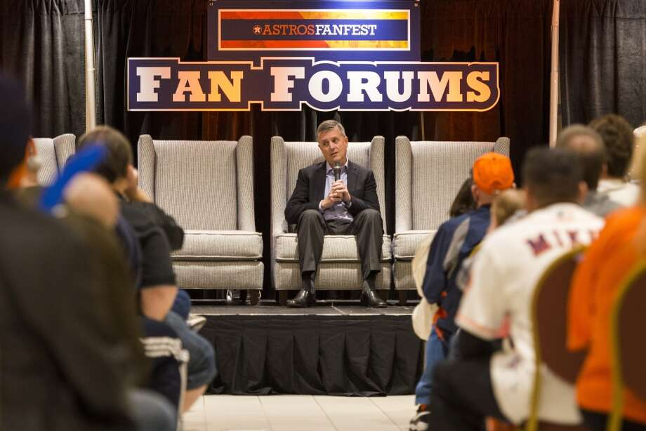 Astros general manager Jeff Luhnow answers questions from a fan forum during the Houston Astros Fanfest. Photo: Smiley N. Pool, Houston Chronicle