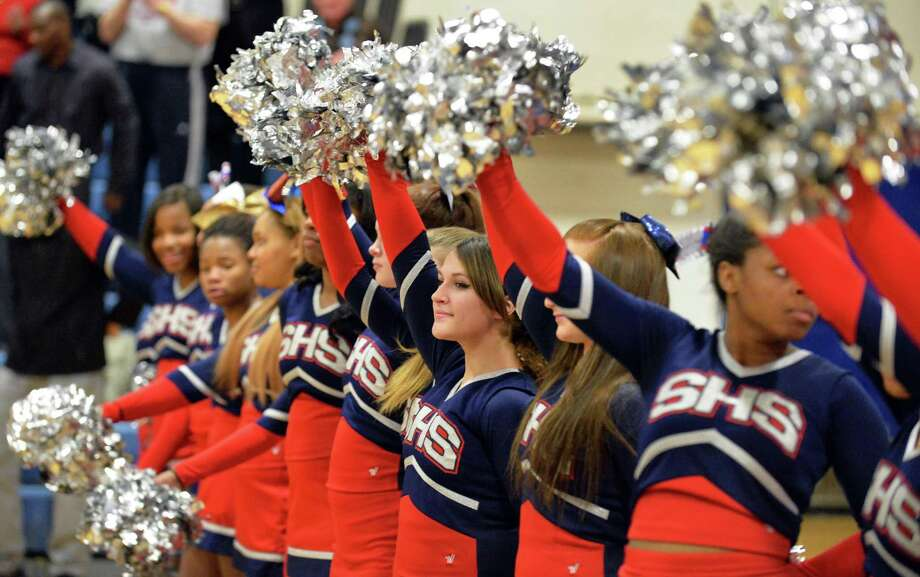Schenectady High cheerleaders during Saturday's game against CCHS Jan. 25, 2014, in Schenectady, NY.  (John Carl D'Annibale / Times Union) Photo: John Carl D'Annibale / 00025480A