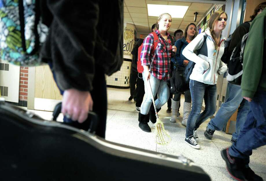 Averill Park High School students are dismissed for the day on Thursday Jan. 23, 2014 in Averill Park, N.Y.  (Michael P. Farrell/Times Union) Photo: Michael P. Farrell / 00025491A