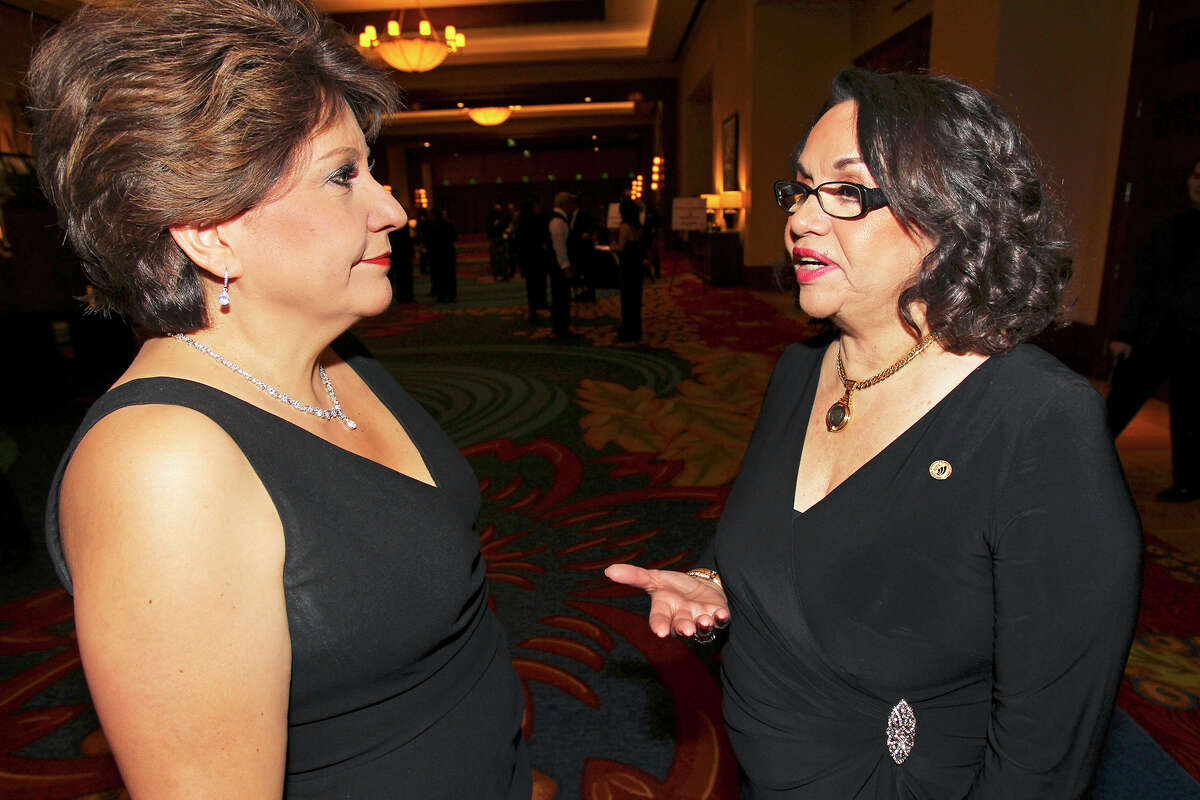 Janet Murguia (left) , president and CEO of the National Council of La Raza chats with 2014 Chairwoman Patricia Stout as the San Antonio Hispanic Chamber of Commerce meets at the JW Marriott for its 85th gala on January 25, 2014.