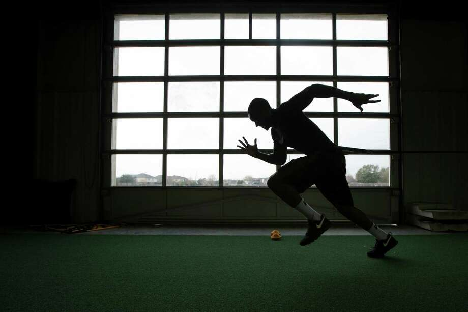 "It's full speed ahead as Demetri Goodson preps for the NFL draft at Plex. Despite a brief stint at Baylor, he believes he's ""better than the third round."" Photo: J. Patric Schneider, Freelance / © 2014 Houston Chronicle"