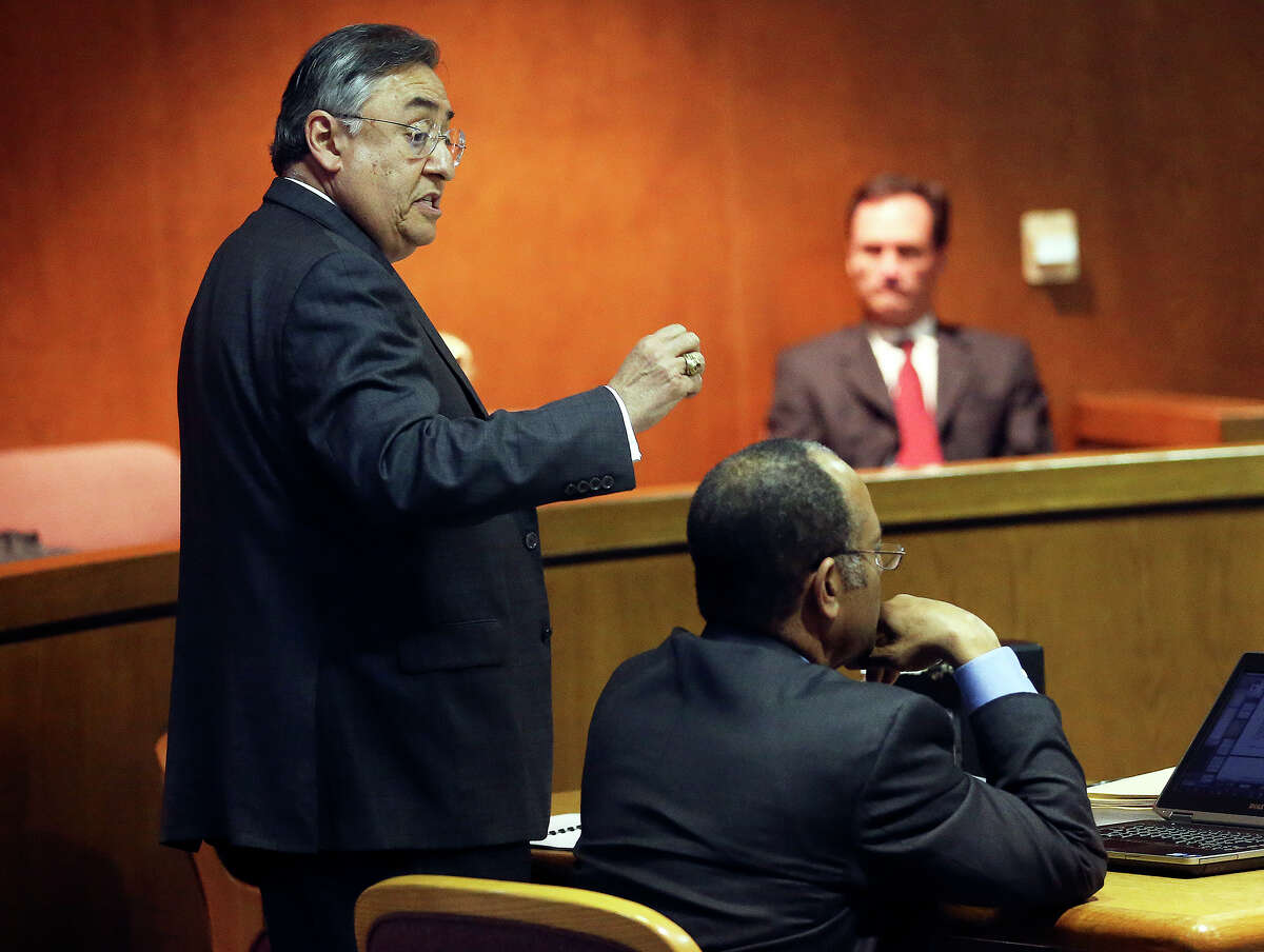Defense attorney Ricardo G. Cedillo argues a point as lawyers in the Monique Rathbun versus the Church of Scientology case argue points in the courtroom of Dib Waldrip on January 22, 2014.