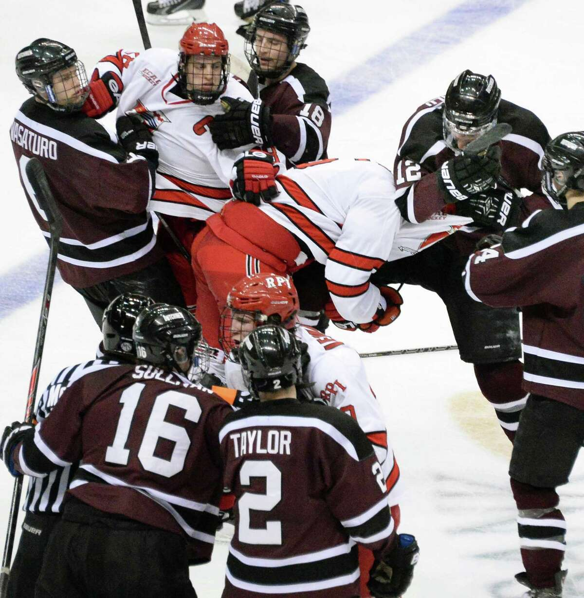 A bench clearing brawl breaks out after RPI beats Union College for the Mayor's Cup at the Times Union Center Saturday Jan. 25, 2014, in Albany, NY. (John Carl D'Annibale / Times Union)