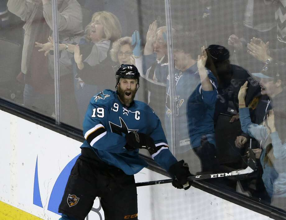 San Jose Sharks' Joe Thornton celebrates his game-winning goal during overtime of an NHL hockey game against the Minnesota Wild on Saturday, Jan. 25, 2014, in San Jose, Calif. San Jose won 3-2 in overtime. (AP Photo/Marcio Jose Sanchez) Photo: Marcio Jose Sanchez, Associated Press