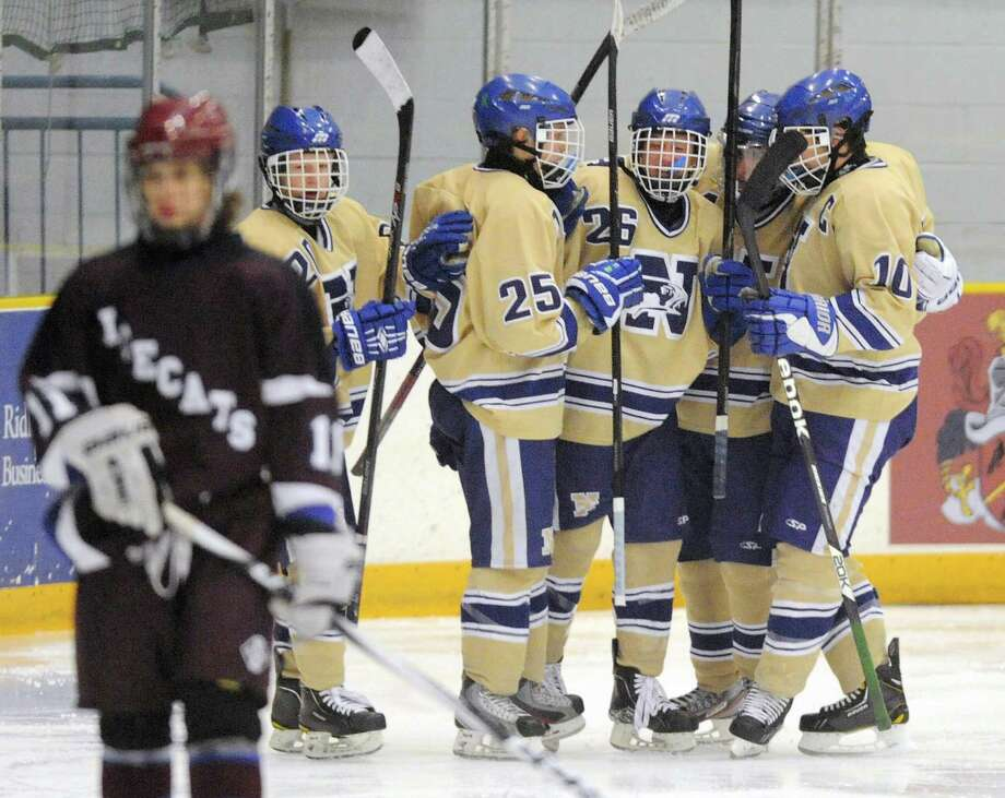 Newtown celebrates a second-period goal in Newtown's 3-1 win over Brookfield/Bethel/Danbury in the high school hockey game at Danbury Arena in Danbury, Conn. on Saturday, Jan. 25, 2014. Photo: Tyler Sizemore / The News-Times