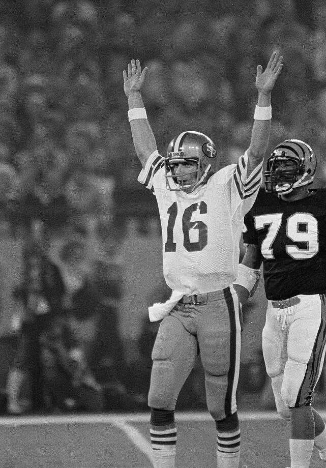 Super Bowl XVI. Sunday, Jan. 24, 1982. Pontiac, Michigan. Temperature: 72 degrees (indoors) San Francisco 49ers 26,  Cincinnati Bengals 21 / 1982 AP