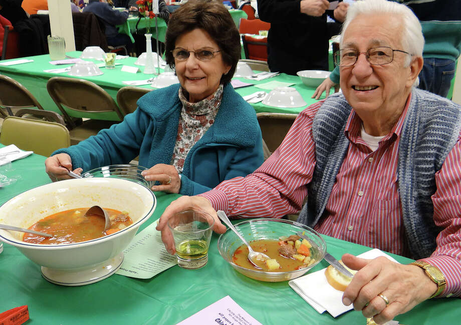 Barbara and Joseph Poruban at Calvin United Church's goulash dinner Satruday. Photo: Mike Lauterborn / Fairfield Citizen contributed