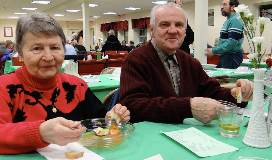 Kalman Jonas, chief elder of Calvin United Church of Christ, and wife Edith at the church's annual goulash dinner Saturday. Photo: Mike Lauterborn / Fairfield Citizen contributed