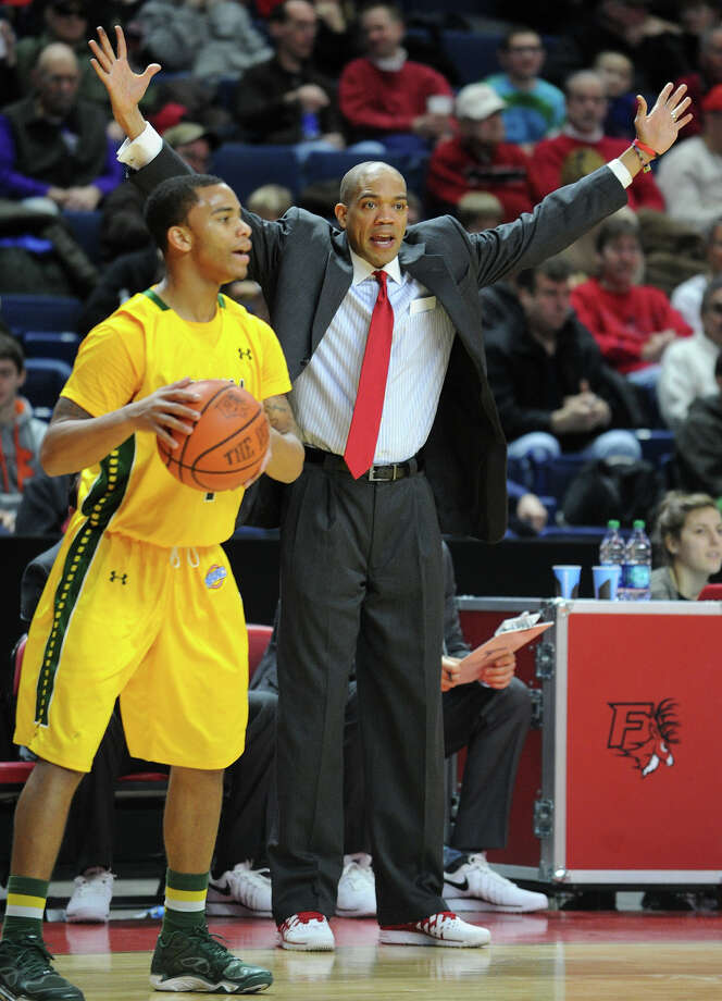 Fairfield men's basketball Head Coach Sydney Johnson. Fairfield v. Siena MAAC mens basketball at the Webster Bank Arena in Bridgeport, Conn. on Sunday, January 26, 2014. Photo: Brian A. Pounds / Connecticut Post